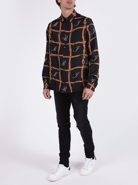 Silk Belt grid printed shirt