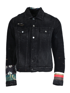 Patch Scarves Trucker Jacket Antique Black