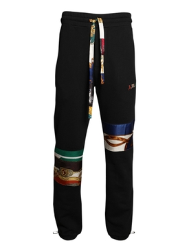 Black Patch scarf jogger pants