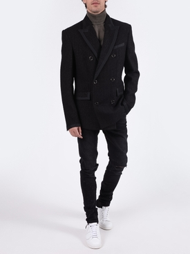 Bloucle double-breasted blazer BLACK