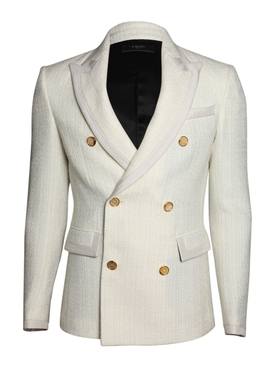 Bloucle double-breasted blazer WHITE