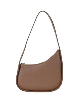 Half Moon Leather Shoulder Bag BROWN