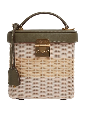 Rattan and Moss Benchley Leather Top Handle Bag