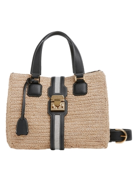 RIVIERA RAFFIA TOTE NEUTRAL AND BLACK