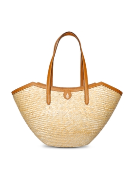 MADELINE LARGE STRAW AND LEATHER BASKET BAG