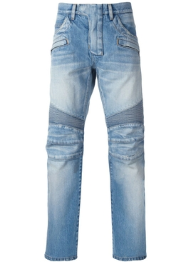 Blue Biker Denim Jeans