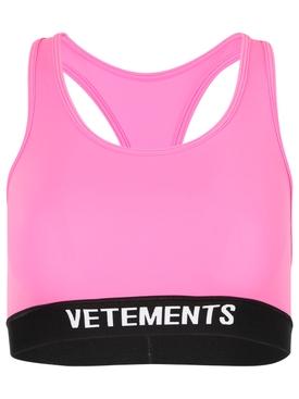 Classic Logo Sports Bra Top Hot Pink