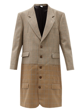 BROWN CHECK PRINT DOUBLE JACKET CUT UP COAT