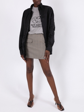 BROWN WOOL MINI SKIRT