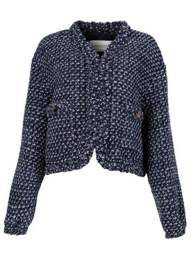 Virgin wool tweed style short jacket blue