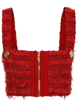 CROPPED ZIPPED TWEED STRAP TOP RED