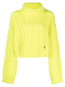 CROPPED CABLE-KNIT MOHAIR SWEATER NEON YELLOW