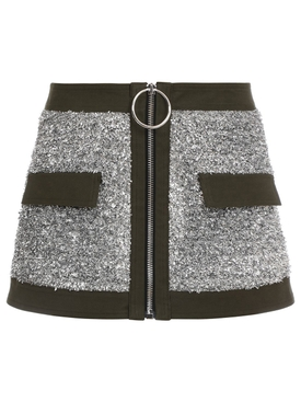 LOW-RISE TWEED AND CANVAS MINI SKIRT SILVER AND BLACK