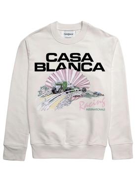 Racing Shell Digital Print Sweatshirt White