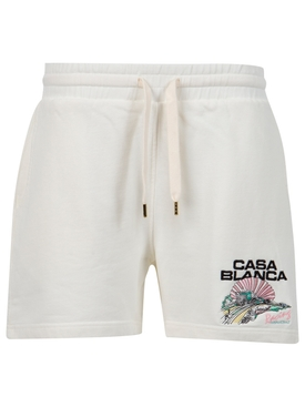 Racing Shell Embroidered Sweat Short Off White