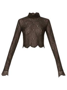 Lace Turtleneck Crop Top Black