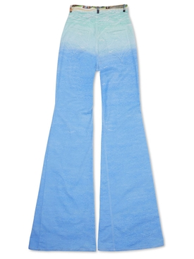 Printed 70'S Denim Flare Jean Blue
