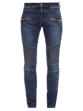 Slim Fit Ribbed B Shiny Jeans Blue