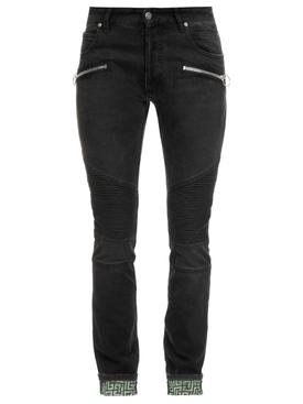 Slim Fit Monogram Revers Ribbed Jeans Noir Black