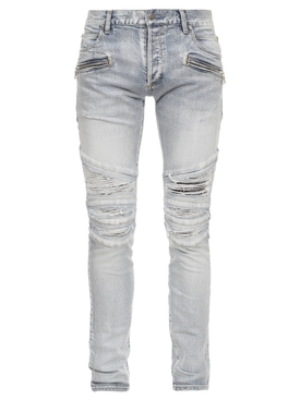 DISTRESSED SLIM FIT RIBBED PATCH JEANS LIGHT BLUE