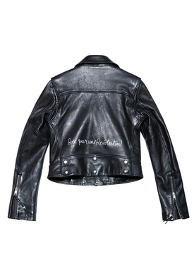 "LEATHER JACKET 1, Black with ""Rose"" print"