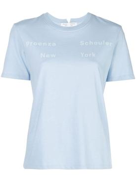 Light blue and white logo t-shirt