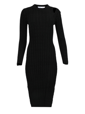 VELVET CHECKERBOARD RIB LONG SLEEVE MIDI DRESS