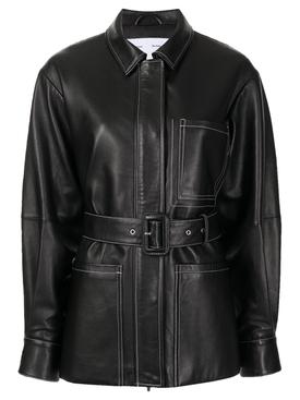 Belted Leather Jacket Black