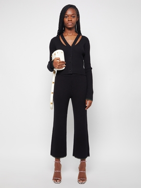 Fine Gauge Rib Knit Pants black forest