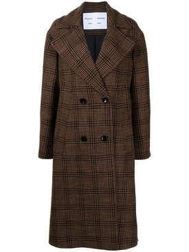 Wool Plaid Print Double Breasted Coat Brown