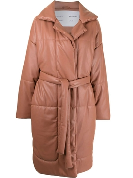 Faux Leather Puffer Coat Blush Pink