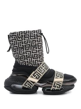 X Rossignol B Bold Strap Monogram Boot Ivory and Black