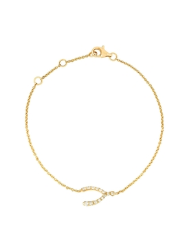 18K YELLOW GOLD DIAMOND WISHBONE CHARM BRACELET