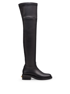 block heel over the knee boot black