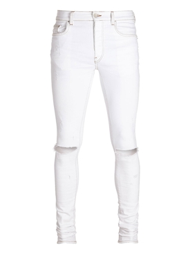 WHITE DISTRESSED SLASH JEAN