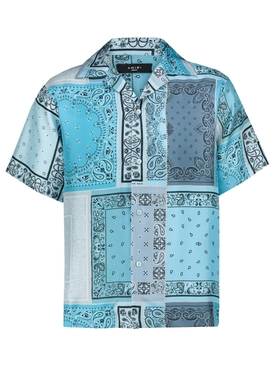 BANDANA RECONSTRUCTED SHORT SLEEVE SILK SHIRT AQUA