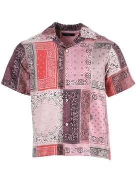 BANDANA RECONSTRUCTED SHORT SLEEVE SILK SHIRT CORAL