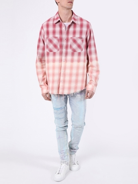 Distressed Ombre Plaid Button-Down RED