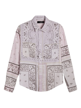 Reconstructed Bandana Print Cotton Flannel Shirt LAVENDER