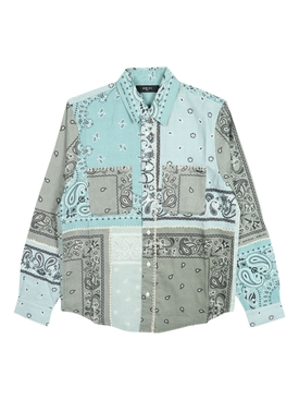Reconstructed Bandana Print Cotton Flannel Shirt PALE LIME