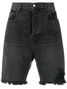 Black Half Track Denim Shorts