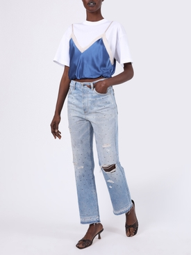 Gradient crystal reconstructed indigo jeans