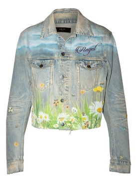 Cropped Dove Trucker Denim Jacket
