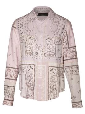 Reconstructed Bandana Print Flannel Shirt LAVENDAR