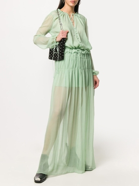 Pale Green Chiffon Crinkle Maxi Dress