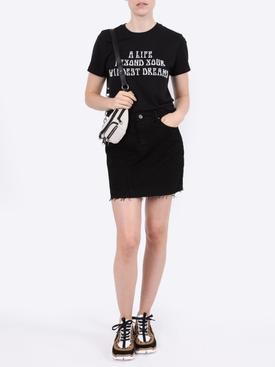 Black raw-edge denim skirt