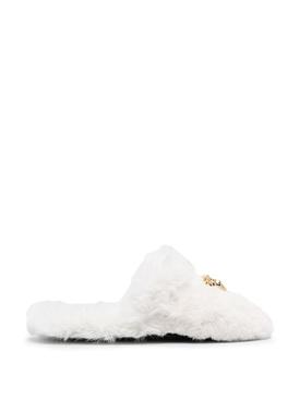 FAUX FUR PALAZZO SLIPPERS WHITE WHITE