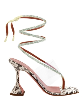 Zulia Strappy Sandal, NATURAL SNAKE AND PISTACHIO SATIN