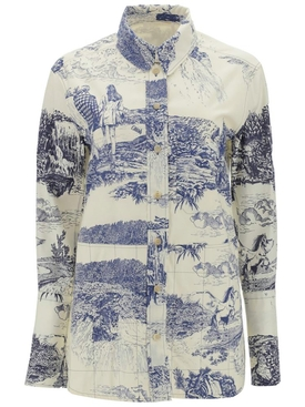 blue and white cotton shirt