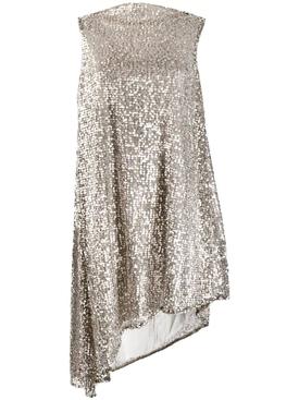 sequinned asymmetric sleeveless dress
